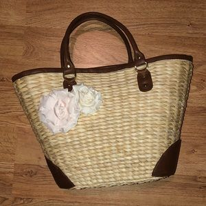 Handmade Straw Tote W/ Flower Pins & Floral Lining